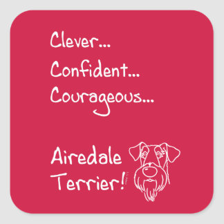 Smart Airedale Terrier Square Sticker