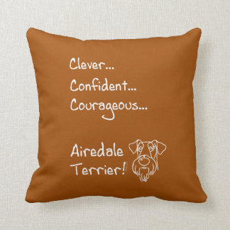 Smart Airedale Terrier Throw Pillow