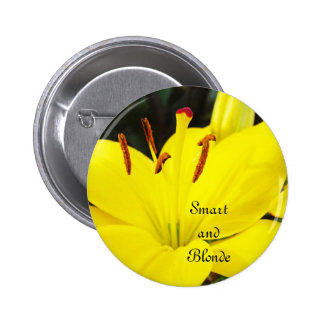 Smart and Blonde buttons Yellow Lily Flowers