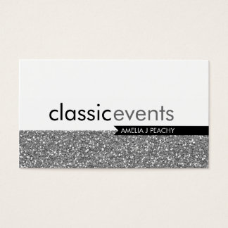 SMART BUSINESS CARD simple glittery effect silver