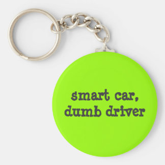 smart car, dumb driver basic round button keychain