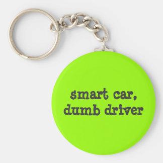 smart car, dumb driver basic round button keychain