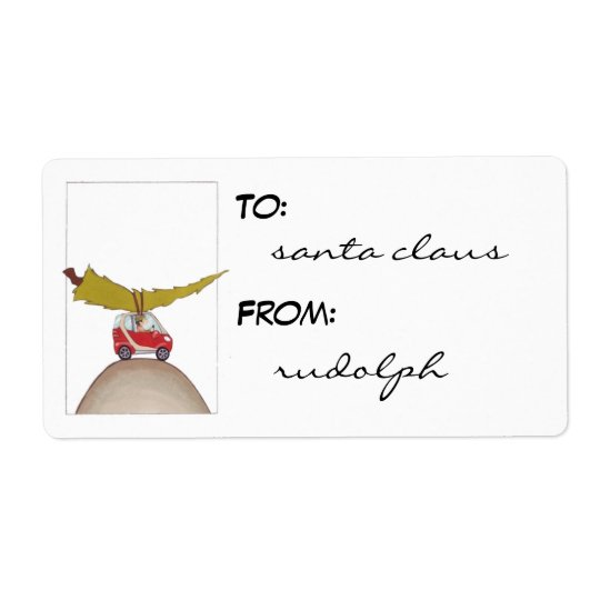 Smart Car Holiday gift tag labels