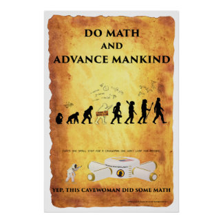 Smart Cavewoman: Do Math and Advance Mankind Post Poster