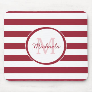 Smart Crimson Red Awning Stripes Name and Monogram Mouse Pad
