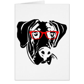 Smart Dog Great Dane with Glasses Card