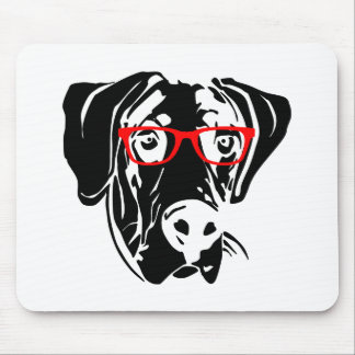 Smart Dog Great Dane with Glasses Mouse Pad