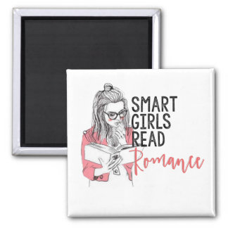 Smart Girls Read Romance Square Magnet