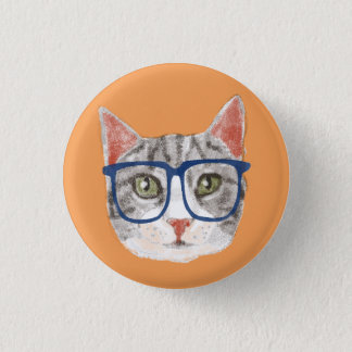 Smart Grey Hipster Tabby Cat Wearing Glasses 1 Inch Round Button