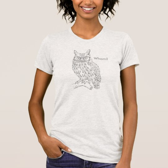 Smart Hipster Owl with Glasses Grey Customizable T-Shirt