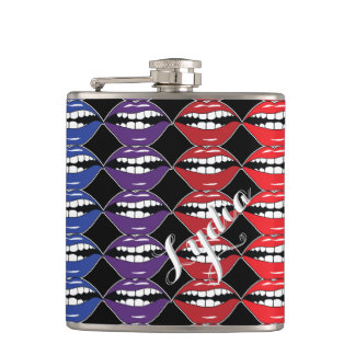 Smart Mouth Rainbow Lips Hip Flask