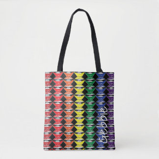Smart Mouth Rainbow Lips with Name on Black Tote Bag
