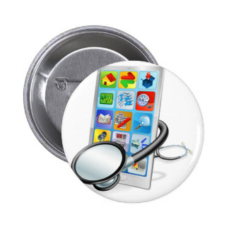 Smart phone or tablet pc health check concept 2 inch round button