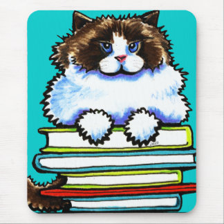 Smart Ragdoll Kitty Books Mouse Pad