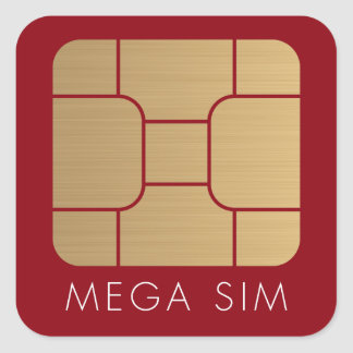 Smart SIM Card mega format faux gold Square Sticker