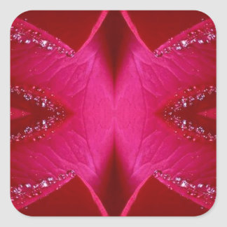 Smart Simple Graphics - Sparkle Red n Pink Rose Square Sticker