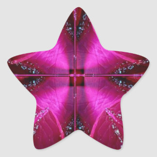 Smart Simple Graphics - Sparkle Red n Pink Rose Star Sticker