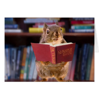 Smart Squirrel Reading a Dictionary Card