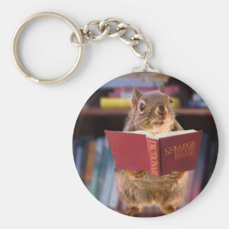 Smart Squirrel Reading a Dictionary Key Chain