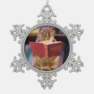 Smart Squirrel Reading a Dictionary Pewter Snowflake Ornament