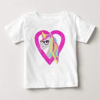 Smart Unicorn with Glasses Retro Distressed Baby T-Shirt