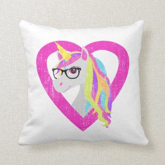 Smart Unicorn with Glasses Retro Nerdy Distressed Throw Pillow