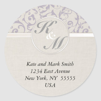 SmartElegance lavender Wedding Collection Round Sticker