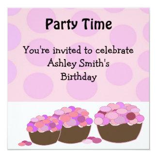 Smartie Cupcake Birthday Invitation