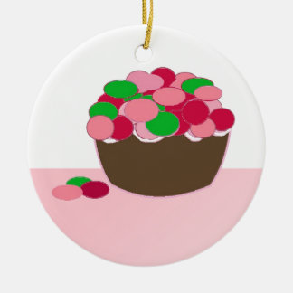Smartie Cupcake Double-Sided Ceramic Round Christmas Ornament