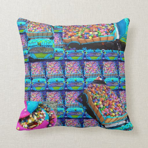 Smartie lorries different front and back throw pillows