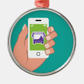 Smartphone application Bus service Online Silver-Colored Round Ornament