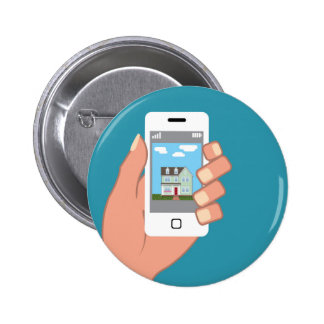 Smartphone in hand with house picture 2 inch round button