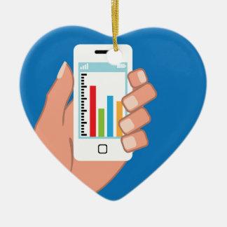 Smartphone with a graph ceramic heart ornament