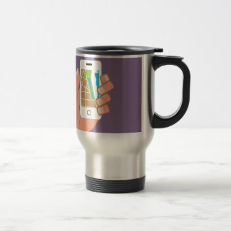 Smartphone with a map App 15 Oz Stainless Steel Travel Mug