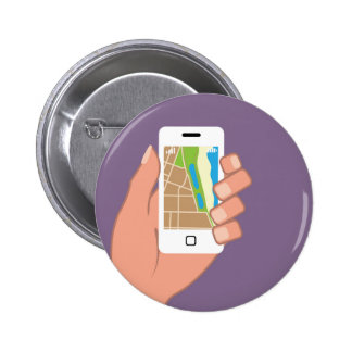 Smartphone with a map App 2 Inch Round Button