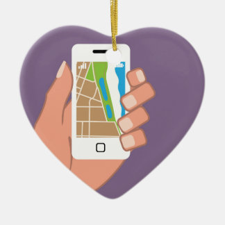 Smartphone with a map App Ceramic Heart Ornament