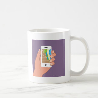 Smartphone with a map App Classic White Coffee Mug