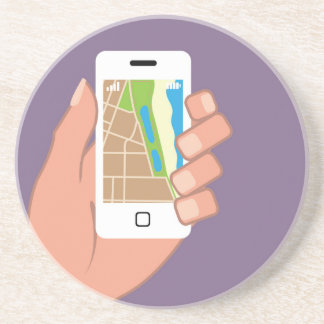 Smartphone with a map App Drink Coaster