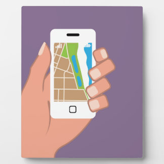 Smartphone with a map App Photo Plaque