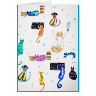 Smarty Pants Cats greetings card/graduation Card