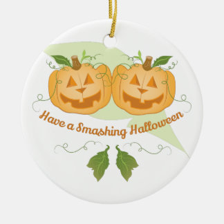 Smashing Halloween Round Ceramic Ornament