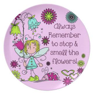 Smell the Flowers Whimsical Fairy Garden Plate