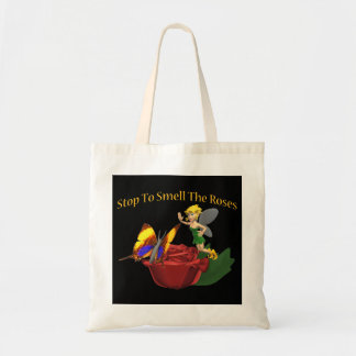 Smell The Roeses Butterfly & Fairy Budget Tote Bag