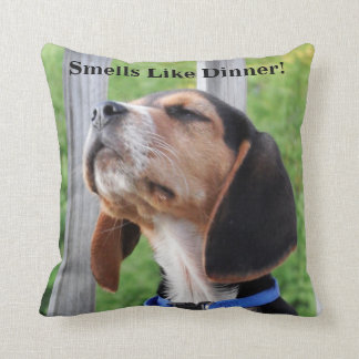 Smells Like Dinner Beagle Puppy Sniffing The Air Throw Pillow
