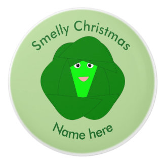 Smelly Christmas Brussels Sprout Ceramic Knob