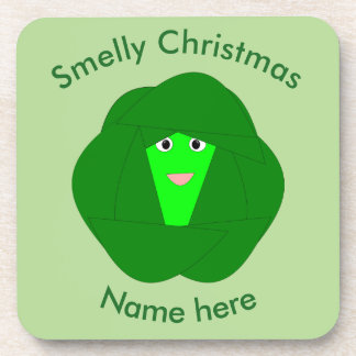 Smelly Christmas Brussels Sprout Custom Coasters