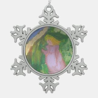 "Smeraldo Gallery""Mademoiselle Gachet in the Garden Snowflake Pewter Christmas Ornament"