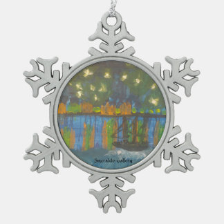 "Smeraldo Gallery""Starry Night on the Rhone"" Snowflake Pewter Christmas Ornament"