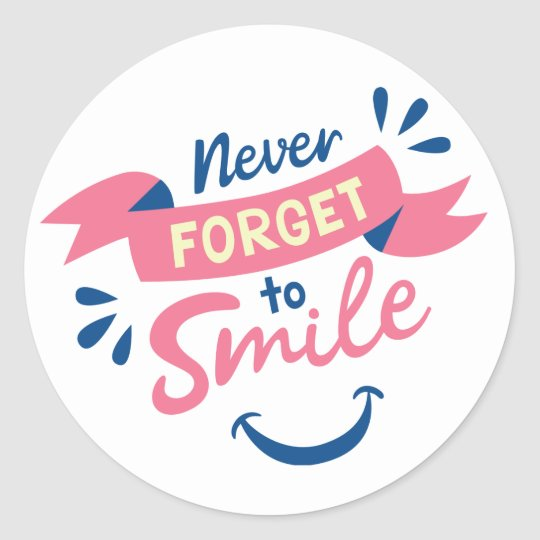 Smile Attitude Happiness Pink & Blue Wedding Party Classic Round Sticker