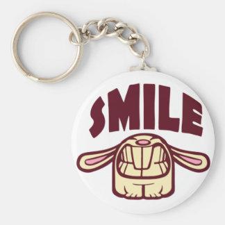 Smile Basic Round Button Keychain